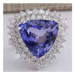 13.62 CTW Natural Blue Tanzanite And Diamond Ring In 18K White Gold