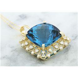 17.52 CTW Topaz 18K Yellow Gold Diamond Necklace