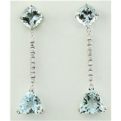 14.20 CTW Aquamarine 14K White Gold Diamond Earrings
