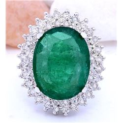 9.30 CTW Natural Emerald 18K Solid White Gold Diamond Ring
