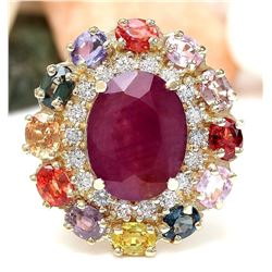 9.11 CTW Natural Ruby, Sapphire 18K Solid Yellow Gold Diamond Ring