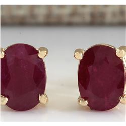 1.80 CTW Natural Red Ruby Earrings 18K Solid Yellow Gold