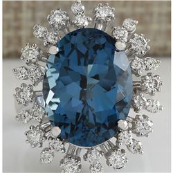 13.13CTW Natural London Blue Topaz And Diamond Ring In18K Solid White Gold
