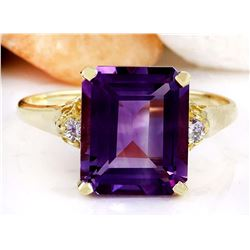 5.14 CTW Natural Amethyst 18K Solid Yellow Gold Diamond Ring