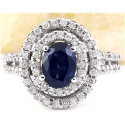 3.10 CTW Natural Sapphire 18K Solid White Gold Diamond Ring