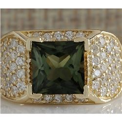 3.37 CTW Natural Green Tourmaline And Diamond Ring 18K Solid Yellow Gold