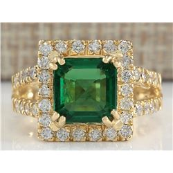 3.37 CTW Natural Emerald And Diamond Ring In 18K Yellow Gold