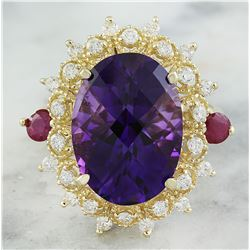 8.60 CTW Amethyst Ruby 18K Yellow Gold Diamond Ring