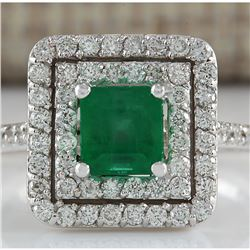 1.70 CTW Natural Colombian Emerald And Diamond Ring In 14K White Gold