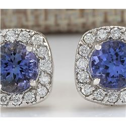 2.97 CTW Natural Tanzanite And Diamond Earrings 14K Solid White Gold