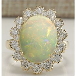 6.26 CTW Natural Opal And Diamond Ring In 14K Solid Yellow Gold