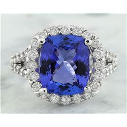 5.09 CTW Tanzanite 18K White Gold Diamond Ring