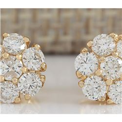 1.00 CTW Natural Diamond Earrings 18K Solid Yellow Gold