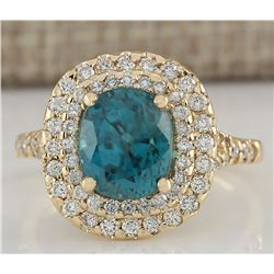 5.21 CTW Natural Zircon And Diamond Ring In 14K Yellow Gold