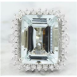 10.77 CTW Aquamarine 14K White Gold Diamond Ring