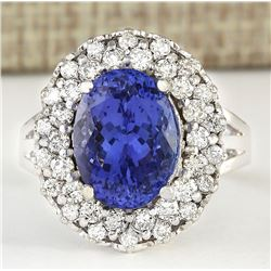 7.82 CTW Natural Blue Tanzanite And Diamond Ring 18K Solid White Gold