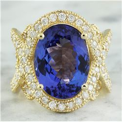 10.58 CTW Tanzanite 14K Yellow Gold Diamond Ring