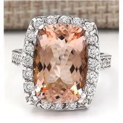 9.60 CTW Natural Morganite And Diamond Ring In 18K White Gold