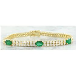 7.32 CTW Emerald 14K Yellow Gold Diamond Bracelet
