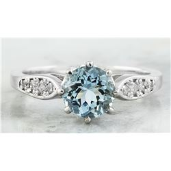 1.27 CTW Aquamarine 18K White Gold Diamond Ring