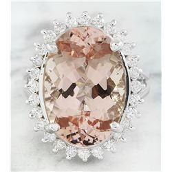 14.20 CTW Morganite 14K White Gold Diamond Ring
