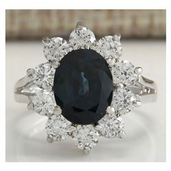 3.41 CTW Natural Blue Sapphire Diamond Ring 14K Solid White Gold
