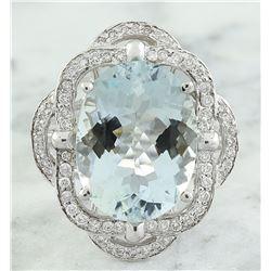 6.97 CTW Aquamarine 18K white Gold Diamond Ring