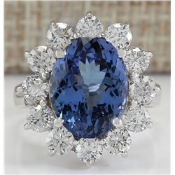6.35 CTW Natural Blue Tanzanite And Diamond Ring In 14K White Gold