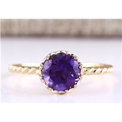 1.50 CTW Natural Amethyst And Diamond Ring In 14k Yellow Gold