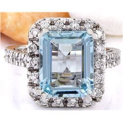 6.05 CTW Natural Aquamarine 18K Solid White Gold Diamond Ring