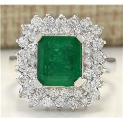 4.08 CTW Natural Emerald And Diamond Ring In 14K White Gold