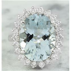 8.88 CTW Aquamarine 14K White Gold Diamond Ring