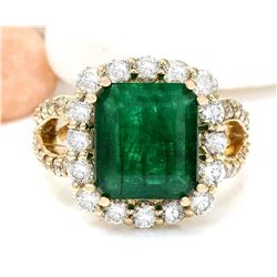 7.49 CTW Natural Emerald 14K Solid Yellow Gold Diamond Ring