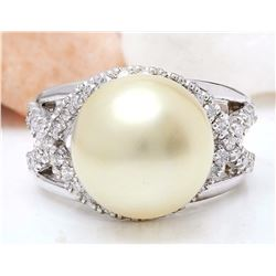 13.12 mm White South Sea Pearl 14K Solid White Gold Diamond Ring