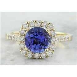 2.28 CTW Tanzanite 14K Yellow Gold Diamond ring