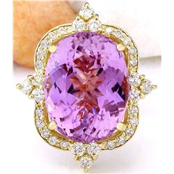 19.89 CTW Natural Kunzite 14K Solid Yellow Gold Diamond Ring