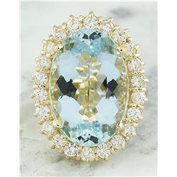 14.00 CTW Aquamarine 18K Yellow Gold Diamond Ring