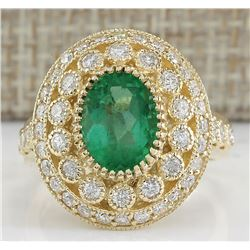 3.16 CTW Natural Colombian Emerald And Diamond Ring In 18K Yellow Gold