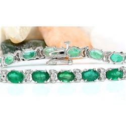 12.20 CTW Natural Emerald 14K Solid White Gold Diamond Bracelet