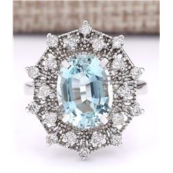 4.32 CTW Natural Aquamarine And Diamond Ring In 18K White Gold