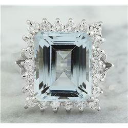 7.23 CTW Aquamarine 18K White Gold Diamond Ring