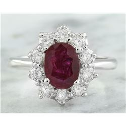 2.81 CTW Ruby 14K White Gold Diamond Ring