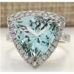 8.96 CTW Natural Aquamarine And Diamond Ring In 18K White Gold