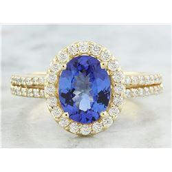 2.34 CTW Tanzanite 18K Yellow Gold Diamond Ring