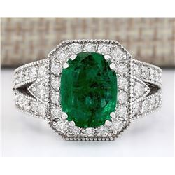 3.38 CTW Natural Emerald And Diamond Ring In 14k White Gold