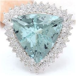 18.22 CTW Natural Aquamarine 18K Solid White Gold Diamond Ring