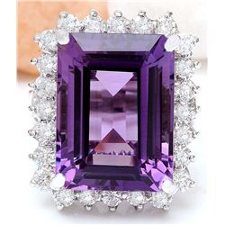 14.20 CTW Natural Amethyst 18K Solid White Gold Diamond Ring