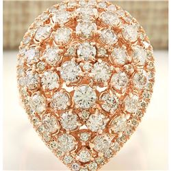 3.48 CTW Natural Diamond Ring In18K Solid Rose Gold