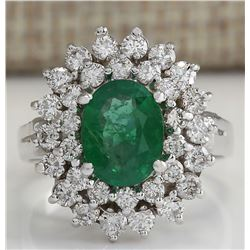 2.81 CTW Natural Emerald Diamond Ring 18K Solid White Gold