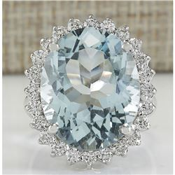 13.42 CTW Natural Blue Aquamarine And Diamond Ring In 14K White Gold